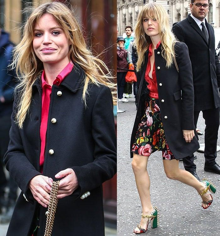 Georgia-May-Jagger-red-top-floral-skirt-black-coat