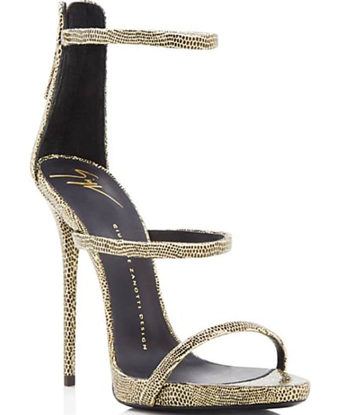 Giuseppe Zanotti Coline Glitter Three-Strap Sandals