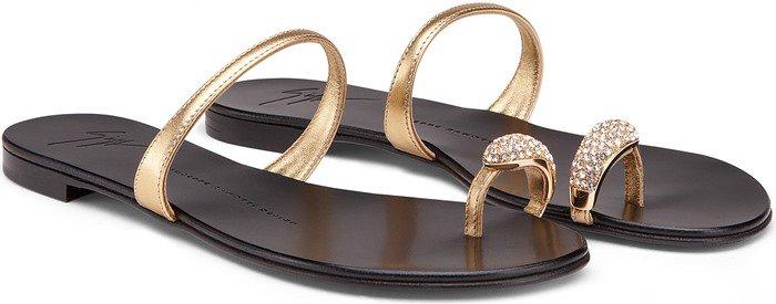 Giuseppe Zanotti Metallic Toe-Ring Flat Sandal in Gold