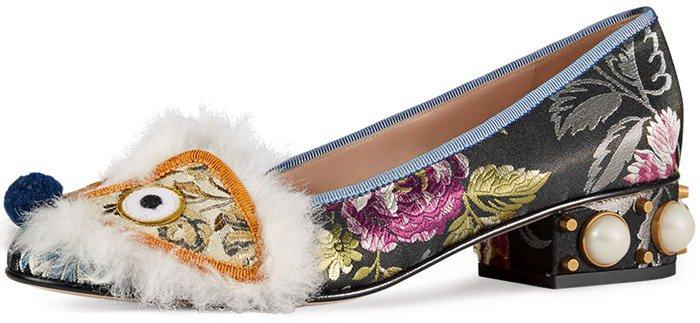 Gucci Kimberly Embroidered Jacquard Pumps