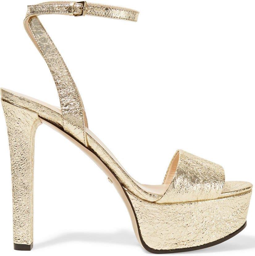 Gucci Metallic Cracked Platform Sandals 1