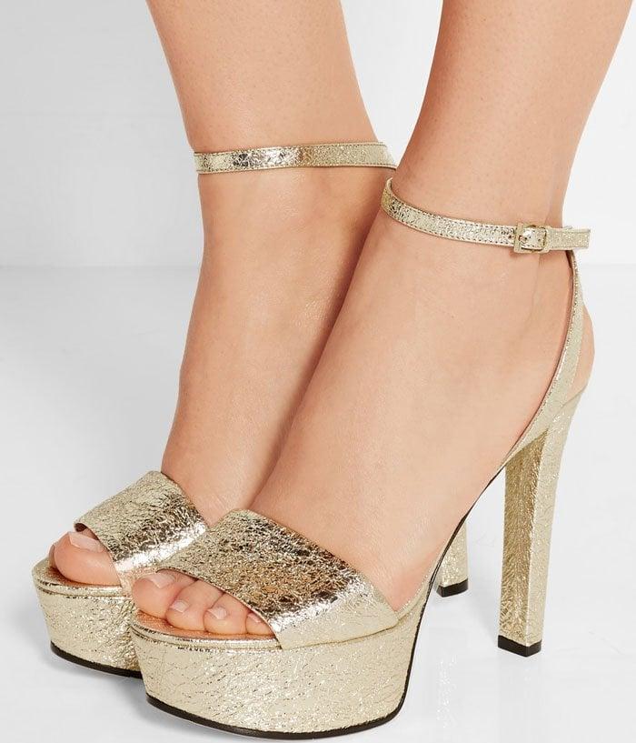 Gucci Metallic Cracked Platform Sandals 2