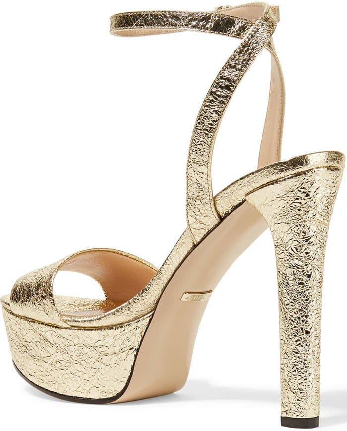 Gucci Metallic Cracked Platform Sandals 3