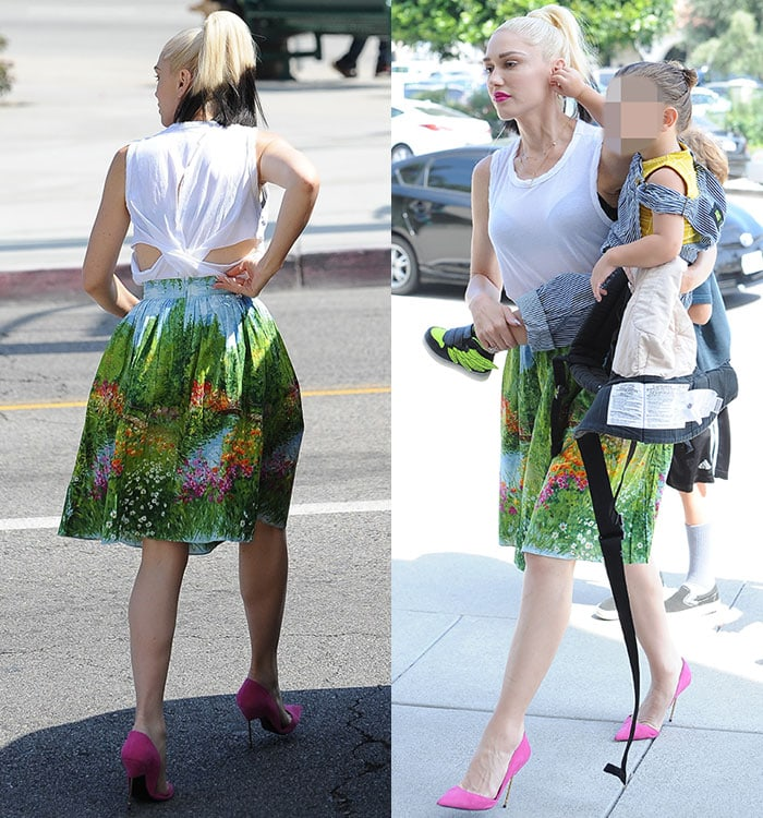 Gwen-Stefani-Bernie-Dexter-printed-skirt-white-cutout-top