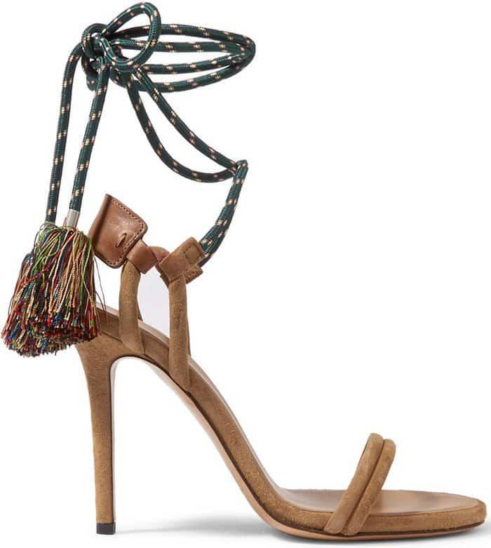 Isabel Marant Alois tasseled leather-trimmed suede heels