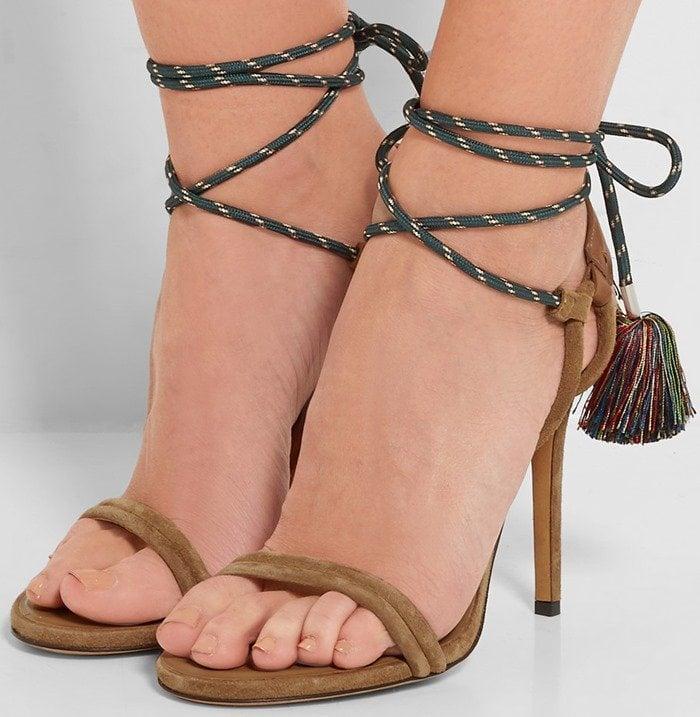 Isabel Marant Alois tasseled leather-trimmed suede sandal