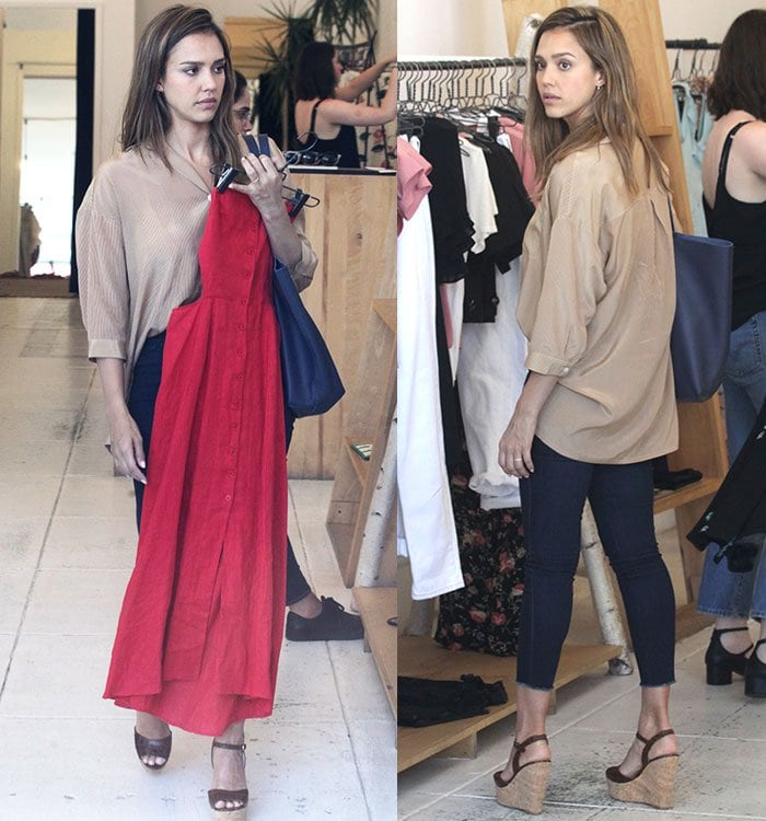 Jessica Alba In Etienne Aigner Genevieve Wedge Sandals