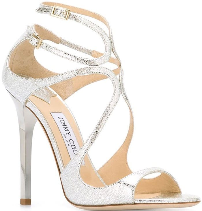 Jimmy Choo Lance Sandals in Crackled Silver Leather