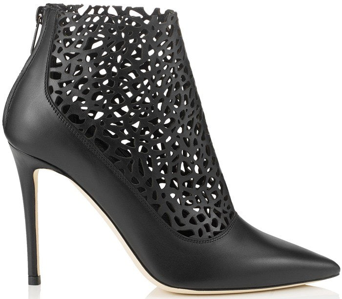 Jimmy Choo Maurice Black Laser Perforated Shiny Leather Bootie