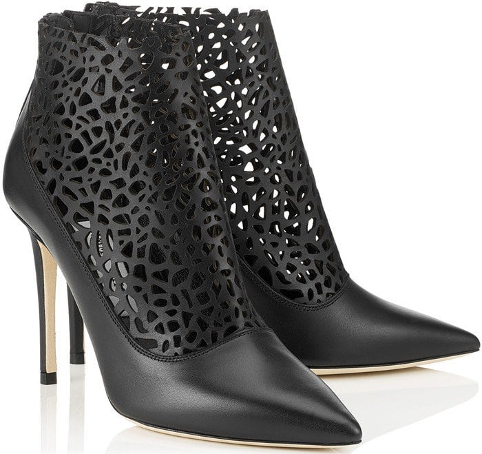 Jimmy Choo Maurice Black Laser Perforated Shiny Leather Booties