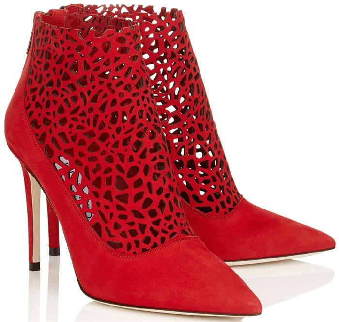 Jimmy Choo Maurice Red Laser Perforated Suede Bootie