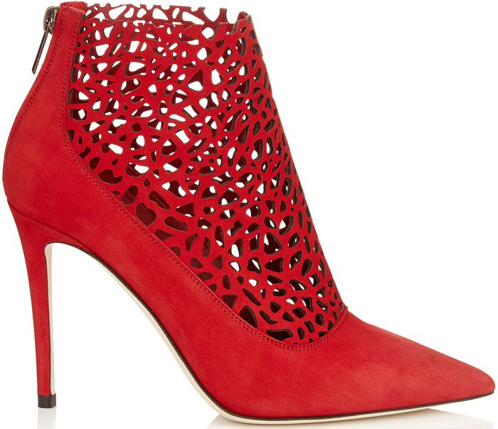 Jimmy Choo Maurice Red Laser Perforated Suede Booties