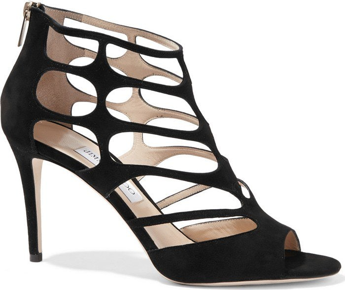 Jimmy Choo Ren black cutout suede sandals