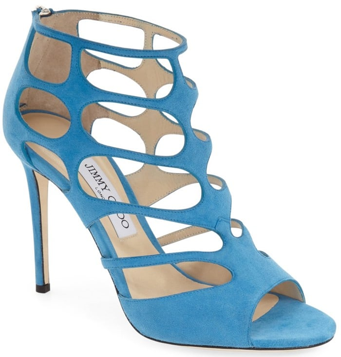 Jimmy Choo Ren blue suede cutout suede sandal