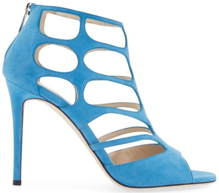 Jimmy Choo Ren blue suede cutout suede sandals