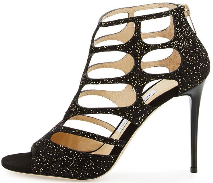 Jimmy Choo Ren gold black cutout suede sandal
