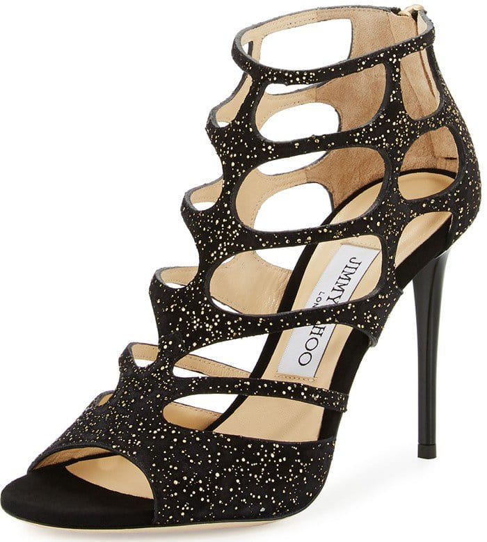 Jimmy Choo Ren gold black cutout suede sandals