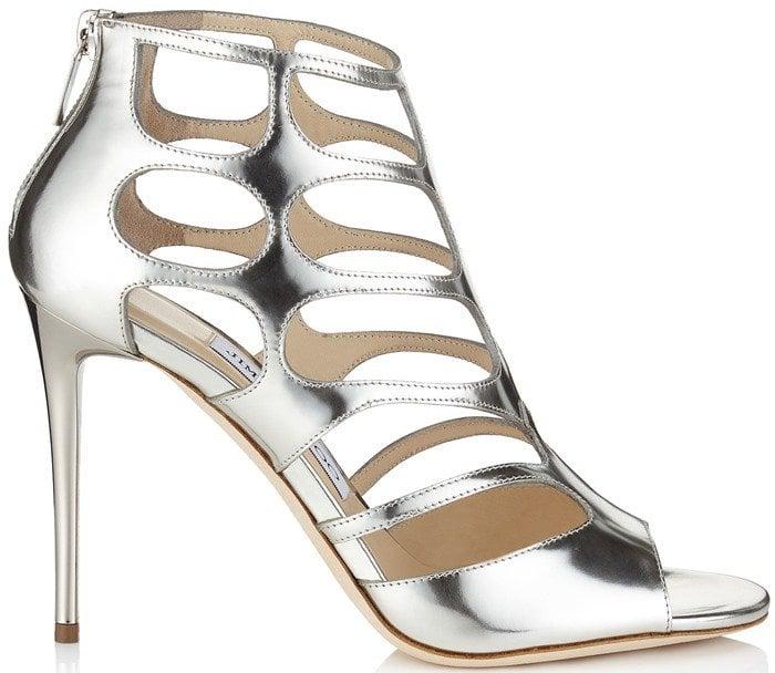 Jimmy Choo Ren silver cutout suede sandal