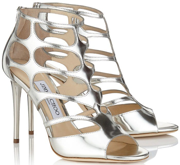Jimmy Choo Ren silver cutout suede sandals