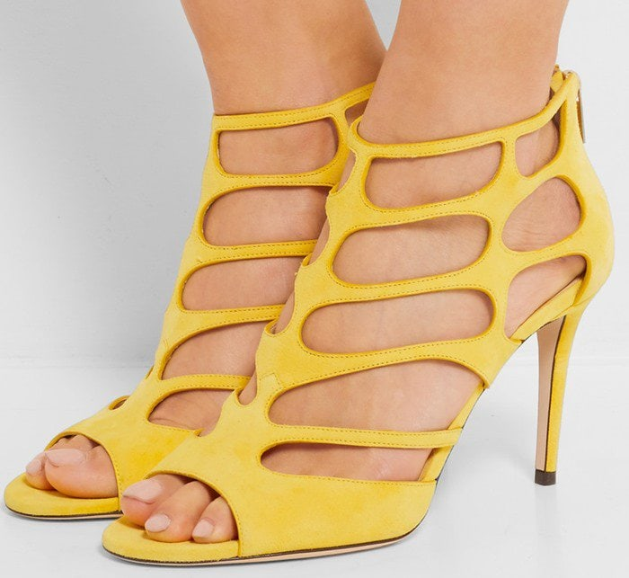 Jimmy Choo Ren soft yellow cutout suede sandal