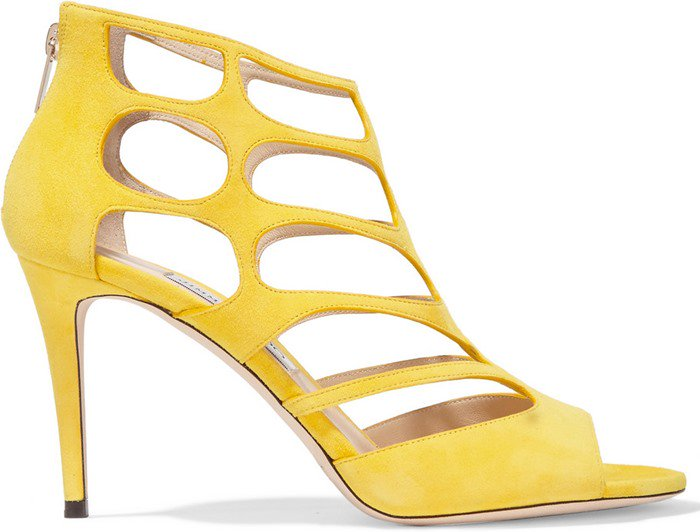 Jimmy Choo Ren soft yellow cutout suede sandals