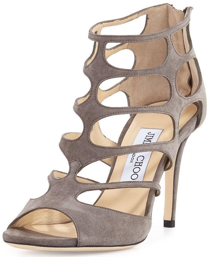 Jimmy Choo Ren taupe grey cutout suede sandal