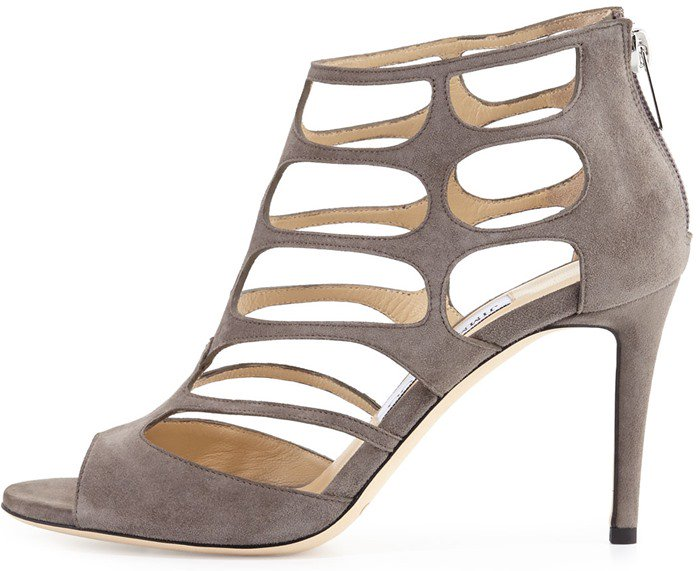 Jimmy Choo Ren taupe grey cutout suede sandals
