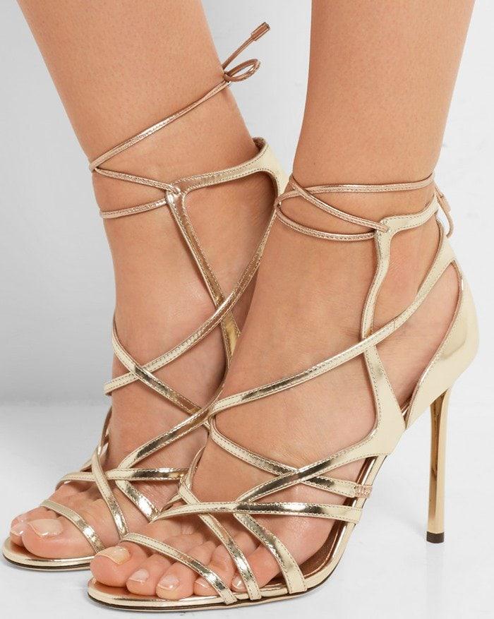Jimmy Choo Tess metallic leather heeled sandals