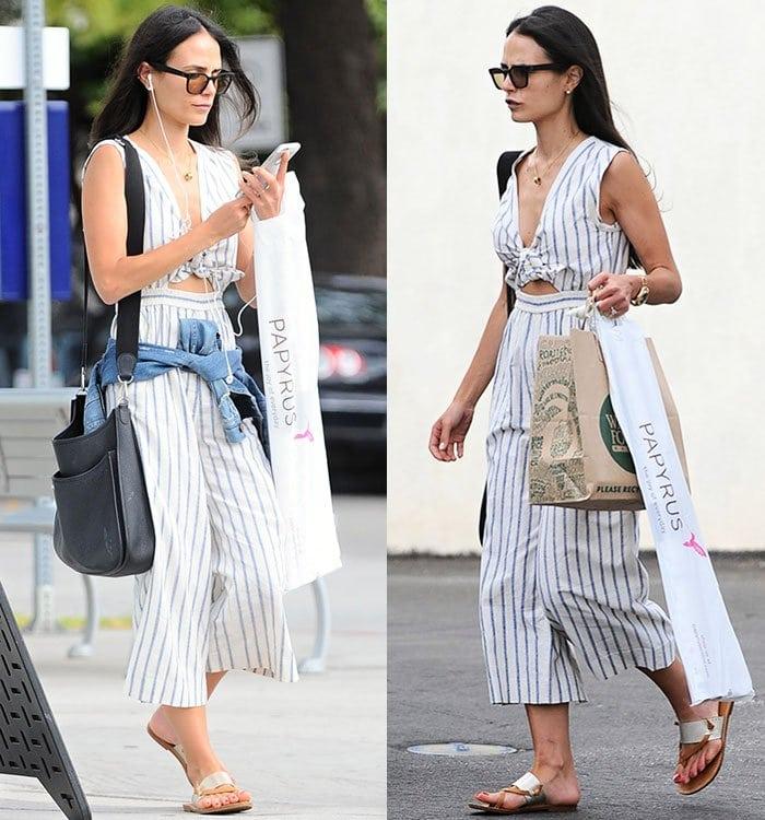 Jordana-Brewster-Madewell-striped-top-pants