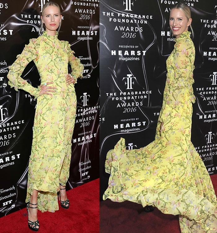 Karolina-Kurkova-flowy-yellow-floral-Erdem-dress