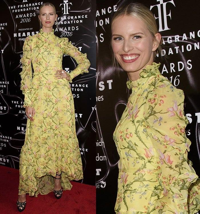 Karolina-Kurkova-flowy-yellow-floral-dress-Erdem