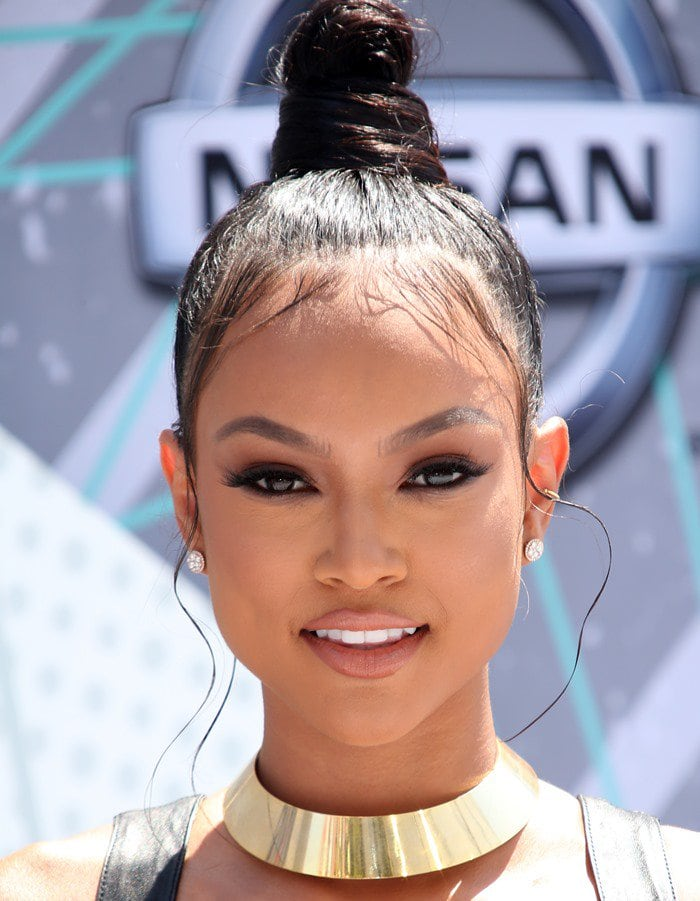 Karrueche Tran wearing a gold circular choker at the 2016 BET Awards held at the Microsoft Theater in Los Angeles on June 26, 2016