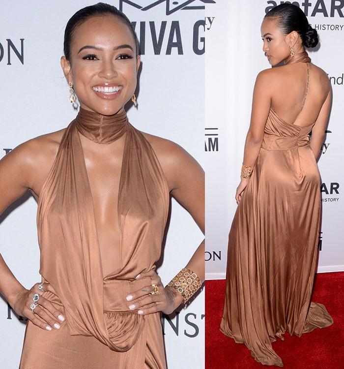Karrueche-Tran-brown-Tom-Ford-Gucci-plunging-draped-dress