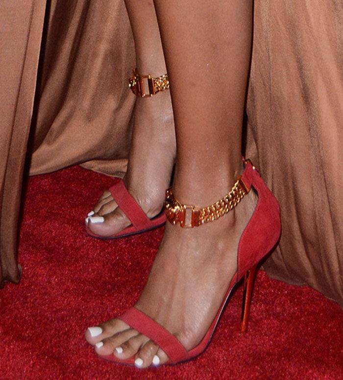 Karrueche-Tran-red-Versace-Chain-Strap-sandals