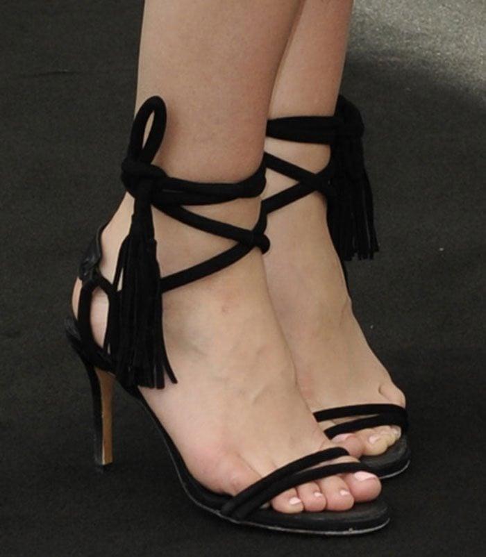 Katharine-McPhee-Isabel-Marant-Ankle-Tie-Tassel-Sandals
