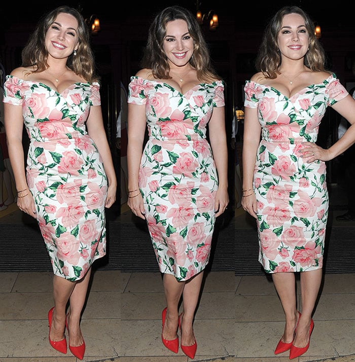 Kelly-Brook-cleavage-Pretty-Dress-Company-floral-dress