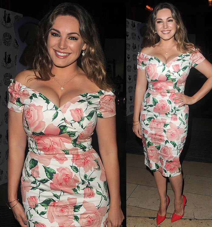 Kelly-Brook-cleavage-floral-off-the-shoulder-dress