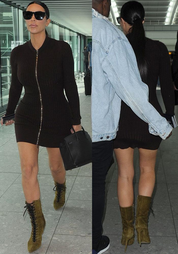 22794221df302 Kim Kardashian Wears Yeezy Boots To Heathrow Airport