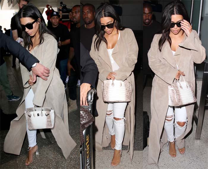 Kim Kardashian arriving with Kanye West at LAX on June 14, 2016, just in time for North's third birthday. She sported J. Brand distressed jeans, a body suit and Yeezy Season 2 Lucite sandals