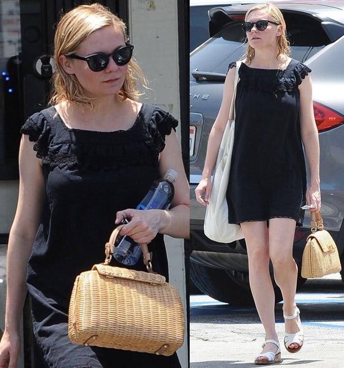 Kirsten-Dunst-shopping-black-mini-dress