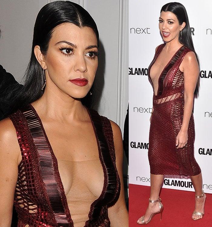 Kourtney-Kardashian-cleavage-baring-Julien-Macdonald-dress