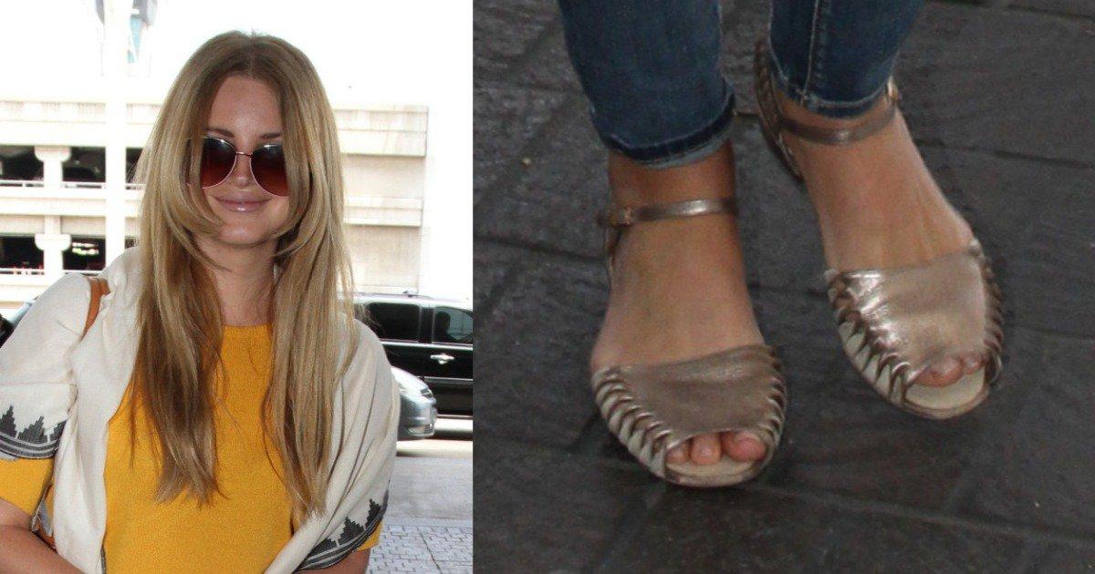 9ca75d3c87d Lana Del Rey Shows Off Rose Gold Metallic Sandals LAX