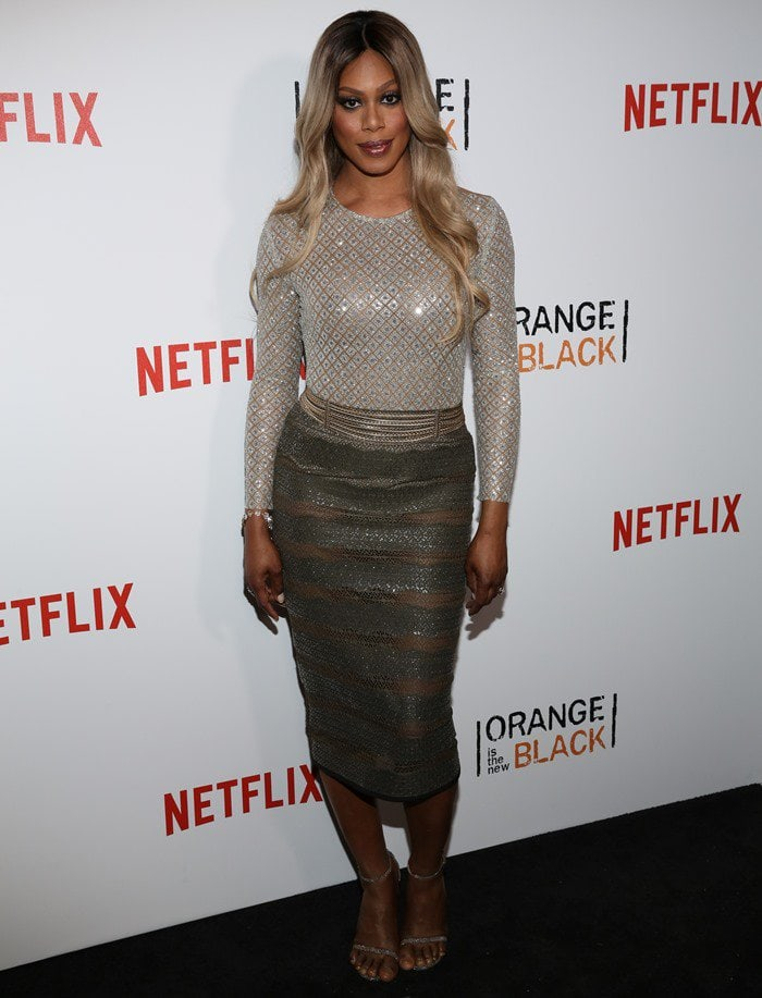 Laverne Cox in an ensemble from luxury fashion designer Laquan Smith