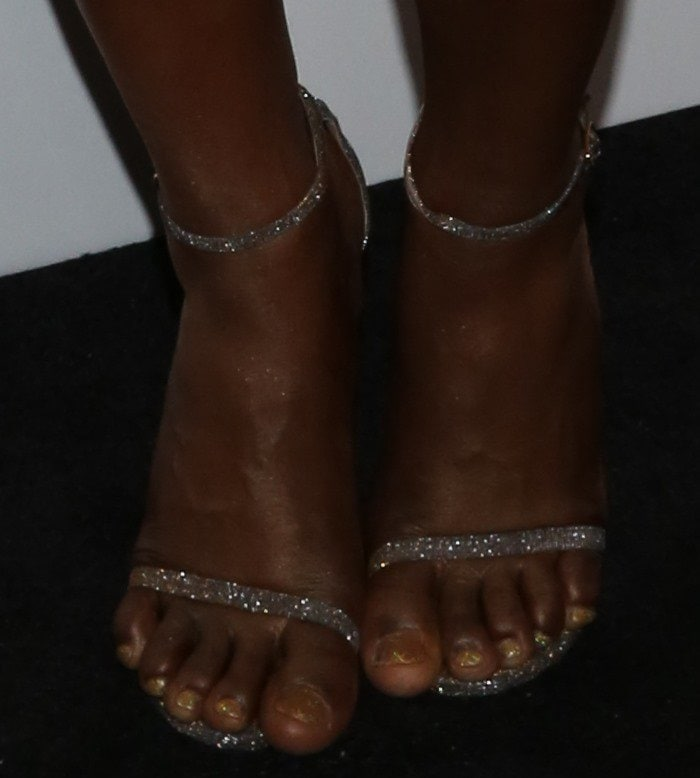 Laverne Cox showing off her feet in Stuart Weitzman 'Nudist' sandals