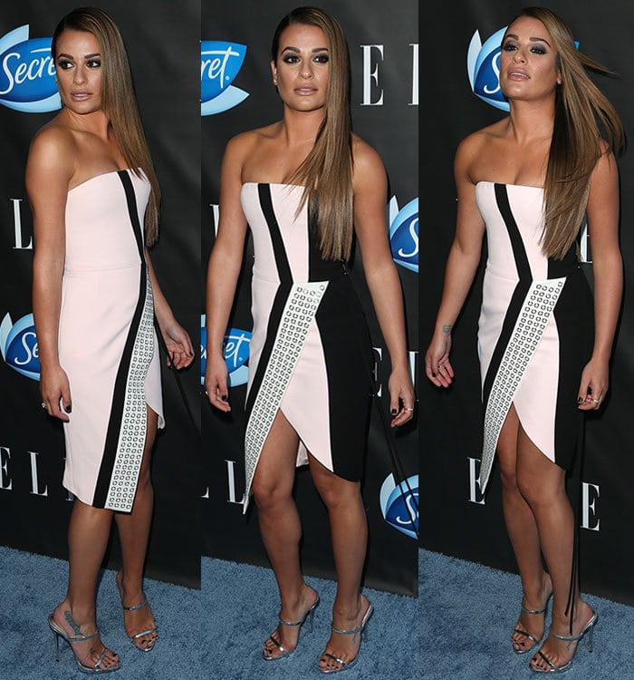 Lea-Michele-legs-cleavage-asymmetric-strapless-dress