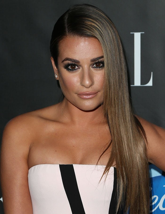 Lea-Michele-side-parted-hair-smoky-eyes-nude-lips