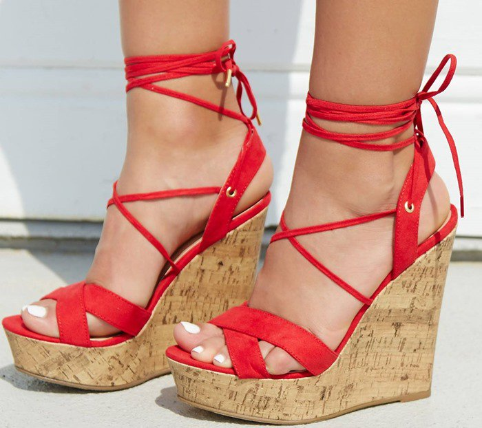 Lace-Up Cork-Effect Platform Wedges in Red