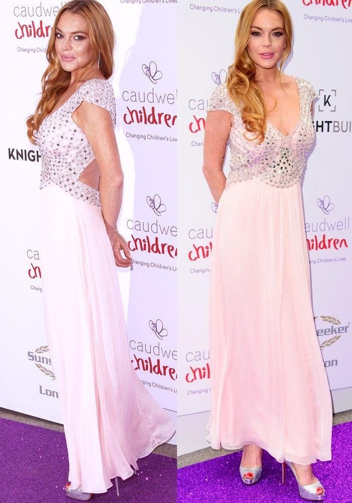 Lindsay Lohan stunned ina classy dress by Temperley London