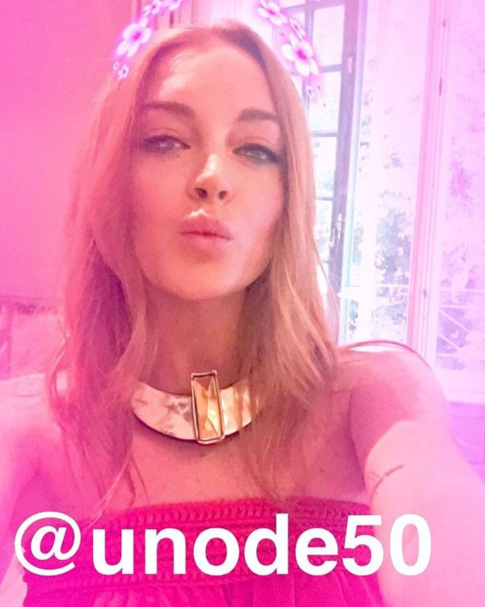 Lindsay uploads a photo of herself on Instagram at UNOde50's 20th anniversary