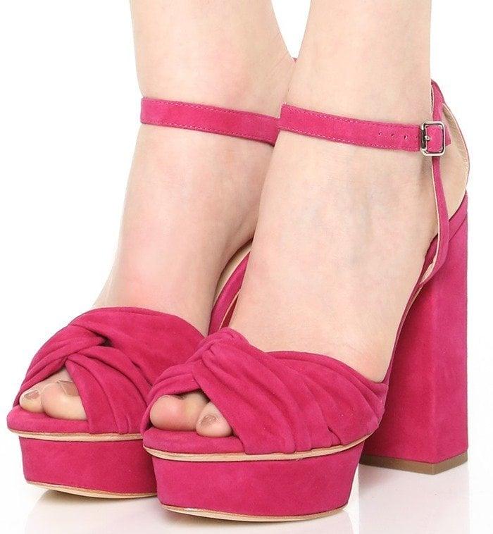 Loeffler Randall Arbella Suede Platform Sandals in Pink
